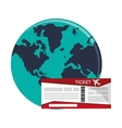 boarding pass and earth globe icon vector image