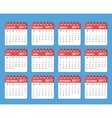 calendar 2017 year starts on monday vector image vector image