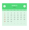 Calendar monthly march 2015 in flat design vector image vector image