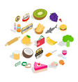 chief cooker icons set isometric style vector image vector image
