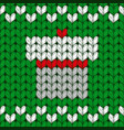 christmas knitted pattern with present box vector image vector image
