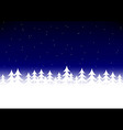 Christmas tree snow dark blue sky vector image