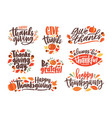 collection thanksgiving day letterings vector image