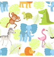 cute african animals and birds seamless pattern vector image vector image