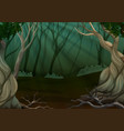 deep forest scene with many trees vector image vector image