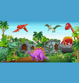 dinosaurs in the park vector image vector image
