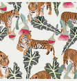 exotic animal tiger in jungle pattern vector image vector image