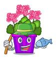 fishing geranium flowers in the cartoon pot vector image
