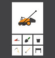 flat icon dacha set of lawn mower trowel pail vector image vector image