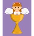 girl angel cartoon cup icon graphic vector image vector image