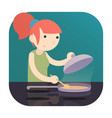 girl cooking food on induction cooktop with pan a vector image