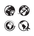 globe icons set world earth and globe map pin vector image