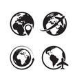 globe icons set world earth and map pin vector image vector image