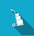 hand truck and boxes icon with long shadow vector image vector image