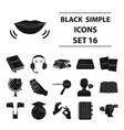 interpreter and translator set icons in black vector image vector image