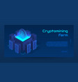 isometric cryptomining farm concept banner vector image vector image