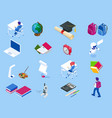 isometric education icons back to school set vector image vector image