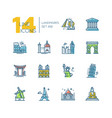 landmarks - colored modern single line icons set vector image vector image
