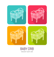 line art baby crib icon set in four color vector image vector image