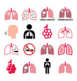lungs lung disease icons set - tuberculosi vector image