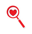magnifying glass with a heart vector image