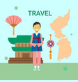 man in traditional korean clothes over korea map vector image vector image