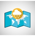 map with icon cloud snowflakes weather graphic vector image vector image