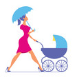 nanny woman walking with a baby carriage vector image vector image