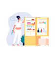 night eating woman standing open fridge with food vector image vector image