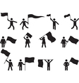 Pictogram people carrying flags vector image vector image
