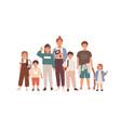 portrait happy children and teenagers group vector image