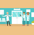 practitioner doctors standing in medical clinic vector image vector image