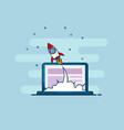 Rocket startup launch from laptop flat line design vector image