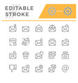 set line icons mail vector image vector image