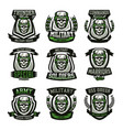 set military logos emblems skull helmet vector image