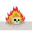 Skull head on fire vector image vector image