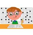 smart kid doing crosswords vector image