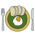 Spinach with dumplings vector image vector image