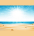 summer beach view of sun burst with blue sky vector image