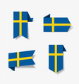 swedish flag stickers and labels vector image