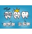 Teeth cool cartoons blue vector image