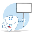 Tooth Cartoon Character Holding A Blank White Sign vector image vector image