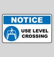 use level crossing sign blue mandatory symbol vector image vector image