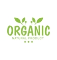 Vegan Natural Food Green Logo Design Template With vector image vector image