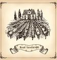 Vineyard Landscape - hand drawn vector image vector image