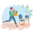 woman holding a box with hand offering a new job vector image