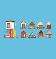 wooden beach houses flat set vector image