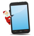 santa pointing smartphone vector image