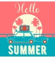 Tropical Vacation Background Retro Car and Palms vector image