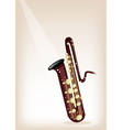 A Musical Bass Saxophone on Brown Stage Background vector image vector image